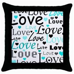 Love pattern - cyan Throw Pillow Case (Black)