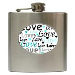 Love pattern - cyan Hip Flask (6 oz)