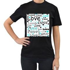 Love pattern - cyan Women s T-Shirt (Black) (Two Sided)