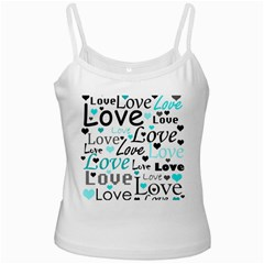Love pattern - cyan Ladies Camisoles