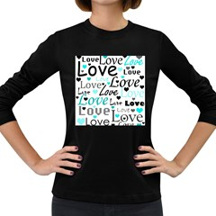 Love pattern - cyan Women s Long Sleeve Dark T-Shirts