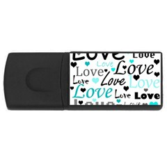 Love pattern - cyan USB Flash Drive Rectangular (4 GB)