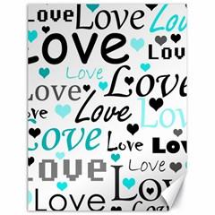 Love pattern - cyan Canvas 18  x 24