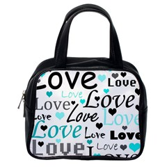 Love pattern - cyan Classic Handbags (One Side)