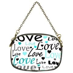 Love pattern - cyan Chain Purses (One Side)