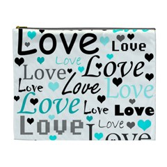 Love pattern - cyan Cosmetic Bag (XL)