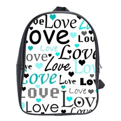 Love pattern - cyan School Bags(Large)