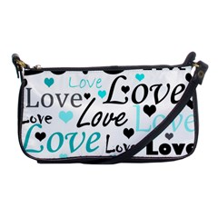 Love pattern - cyan Shoulder Clutch Bags