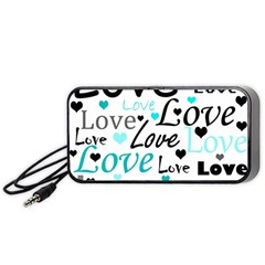 Love pattern - cyan Portable Speaker (Black)