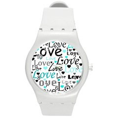 Love pattern - cyan Round Plastic Sport Watch (M)