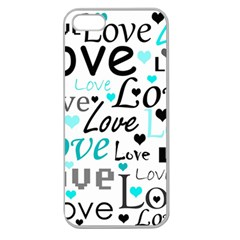 Love pattern - cyan Apple Seamless iPhone 5 Case (Clear)