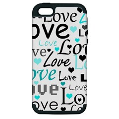 Love pattern - cyan Apple iPhone 5 Hardshell Case (PC+Silicone)