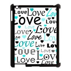 Love pattern - cyan Apple iPad 3/4 Case (Black)