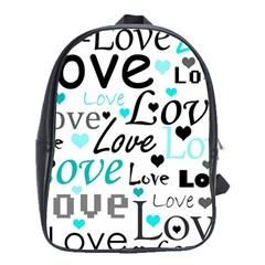Love pattern - cyan School Bags (XL)