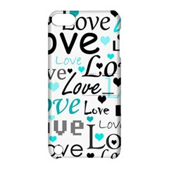 Love pattern - cyan Apple iPod Touch 5 Hardshell Case with Stand