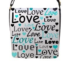 Love pattern - cyan Flap Messenger Bag (L)