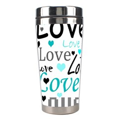 Love pattern - cyan Stainless Steel Travel Tumblers