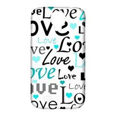 Love pattern - cyan Samsung Galaxy S4 Classic Hardshell Case (PC+Silicone)