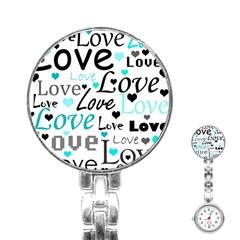 Love pattern - cyan Stainless Steel Nurses Watch