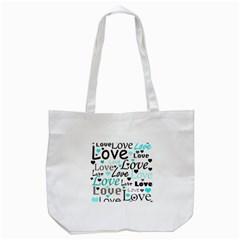 Love pattern - cyan Tote Bag (White)
