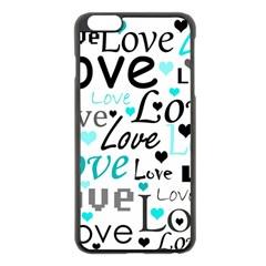 Love pattern - cyan Apple iPhone 6 Plus/6S Plus Black Enamel Case