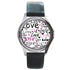 Love pattern - magenta Round Metal Watch