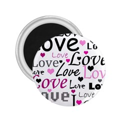 Love pattern - magenta 2.25  Magnets