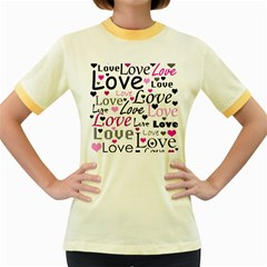 Love pattern - magenta Women s Fitted Ringer T-Shirts