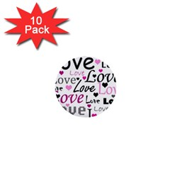 Love pattern - magenta 1  Mini Buttons (10 pack)