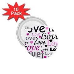 Love pattern - magenta 1.75  Buttons (10 pack)