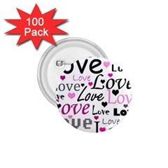 Love pattern - magenta 1.75  Buttons (100 pack)