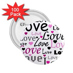 Love pattern - magenta 2.25  Buttons (100 pack)