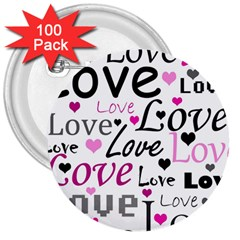 Love pattern - magenta 3  Buttons (100 pack)