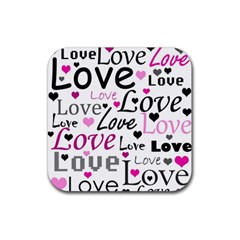 Love pattern - magenta Rubber Square Coaster (4 pack)