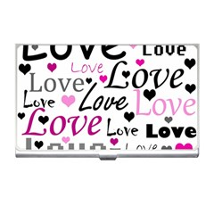 Love pattern - magenta Business Card Holders