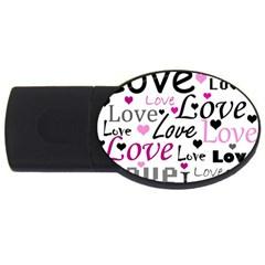 Love pattern - magenta USB Flash Drive Oval (2 GB)