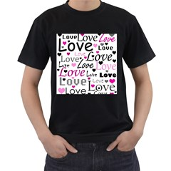 Love pattern - magenta Men s T-Shirt (Black) (Two Sided)