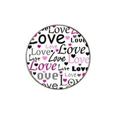 Love pattern - magenta Hat Clip Ball Marker
