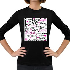 Love pattern - magenta Women s Long Sleeve Dark T-Shirts