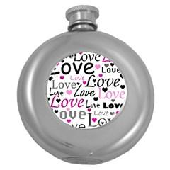 Love pattern - magenta Round Hip Flask (5 oz)