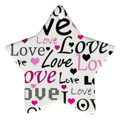 Love pattern - magenta Star Ornament (Two Sides)