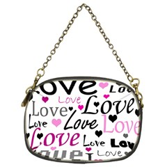 Love pattern - magenta Chain Purses (Two Sides)