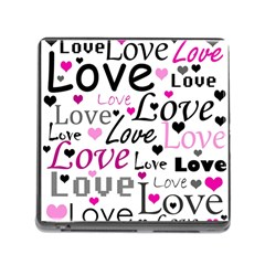 Love pattern - magenta Memory Card Reader (Square)