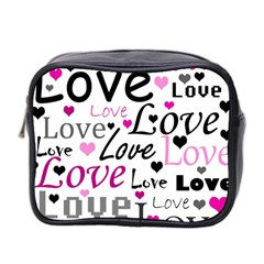 Love pattern - magenta Mini Toiletries Bag 2-Side
