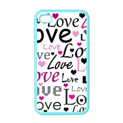 Love pattern - magenta Apple iPhone 4 Case (Color)