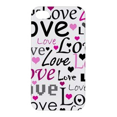 Love pattern - magenta Apple iPhone 4/4S Premium Hardshell Case