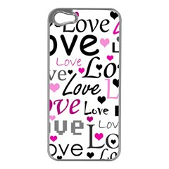 Love pattern - magenta Apple iPhone 5 Case (Silver)