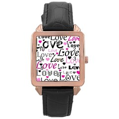 Love pattern - magenta Rose Gold Leather Watch