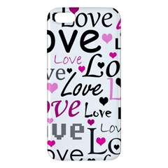 Love pattern - magenta Apple iPhone 5 Premium Hardshell Case