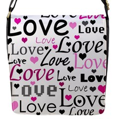 Love pattern - magenta Flap Messenger Bag (S)